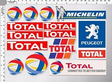 1set total oil lube peugeot michelin tire racing decal sticker die-cut motor