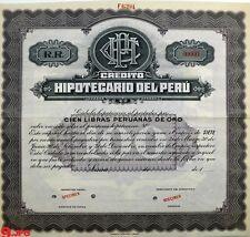Peru Credito Hipotecario 100 Libras Peruanas Oro SPECIMEN GOLD ABNC RARE Bond