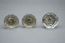 Lot of 3 Antique Glass Door Knobs, Two Match , All have screws, good condition
