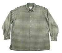 Ermenegildo Zegna Mens XXL Button Front LS Shirt Tan Gray Gingham Plaid Italy