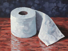 Original Still Life Painting of New Toilet Paper - (9 x 12 inch) by John Wallie