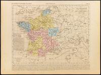 1859. Francia De Charles Vi. Mapa Geográfica Antigua Houze