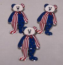 Patriotic Flag Pin Teddy Bear America USA Set of 3 Stars & Stripes 4th of July