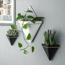 Geometric White / Black Flower Succulent Wall Hanging Planter Home Decor Modern
