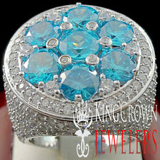 MENS BIG HUGE XXL REAL WHITE GOLD SILVER BLUE TOPAZ JUMBO RING BAND LAB DIAMOND