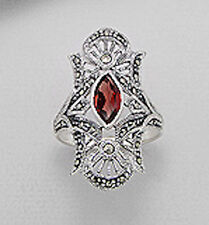 6g Solid Sterling Silver Red Garnet Swiss Marcasite 32mm Ring Antique Inspired
