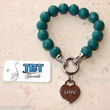 Braccialetto Bracciale di pietra dura con ciondolo cuore perle strass donna Blu