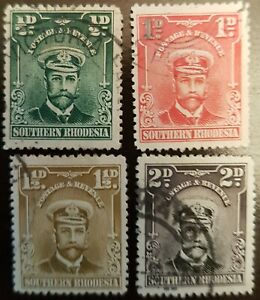 Southern Rhodesia - 1924 - Sc 1 - 4 - KGV Admiral Definitives Used cv=US$4.65