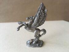 Vintage Ridolfi Yahre Signed Fine Pewter Miniature Pegasus Crystal Figurine
