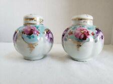 Vtg Porcelain Ceramic Hand-painted Floral Salt Pepper Shakers Gold Gilt Trim