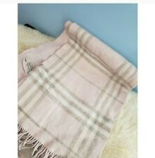 BURBERRY PINK CHECK CAPE SHAWL PONCHO WOOL CASHMERE OVERSIZED SCARF WITH POCKETS