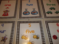 10 Laminated Colored Numbers 1-10 Posters.  8.5x11 classroom signs. Daycare Acce