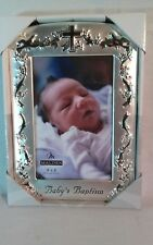 """Malden Baby's Baptism Photo Frame, Holds 4"""" x 6"""", Silver, Nwt"""