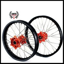 "KTM SX SXF EXC 125-530 2003-2014 Wheel set Black Rims Orange Hub 21""/19"""