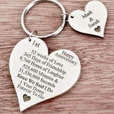 1st First Wedding Anniversary Gift for Husband Wife Personalised Keyring Her K43