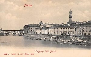 FIRENZE FLORENCE ITALY LUNGARNO DELLA BORSA~GARZINI e PEZZINI 6909 POSTCARD 1904