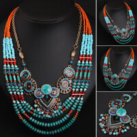 Vintage Ethnic Necklace Statement Pendant Choker Tribal Collar Jewelry Bohemian