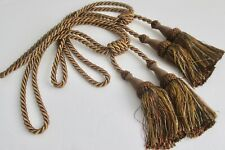 """Set of 2 Brown & Bronze Large Curtain Tiebacks with 7"""" Tassels New"""