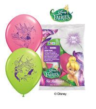 "6 pc 12"" Disney Fairies Latex Party Balloons Happy Birthday Fairy Tinkerbell"