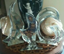 WYLAND lucite sculptures art ,three , Turtles & dolphin & whales signed numbered