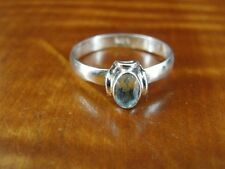 Blue Stone with Design around Sterling Silver 925 Ring Size 7 1/2