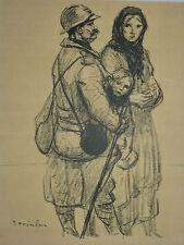 """STEINLEN (1859/1923) Litho WW1 - """" UN POILU  A PETAIN """"  - Signé"""