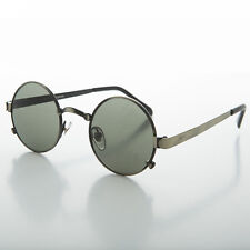 1990s Round Lennon Steampunk Sunglass Optical Quality Antique Gun- SPIKE