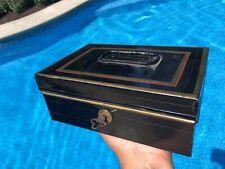"Vintage Antique Painted Tin Cash Box Storage Document Box with Key 8 x 6 x 3"""
