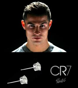 Men's / Boy's: Ronaldo 8mm 18ct White Gold Plated Crystal Diamond Stud Earrings