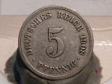 (EMP) - ALLEMAGNE - 5 PFENNIG - 1908 F - QUALITE TB !