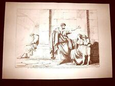 Litografia Caio Gracco abbandona Licinia L'Istoria Romana Bartolomeo Pinelli