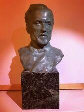 RARE : Buste en bronze de Louis Pasteur sur socle de marbre, patiné, début XXème