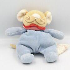 Mini Doudou souris bleu col rouge BENGY - Souris - Rat Mini doudou