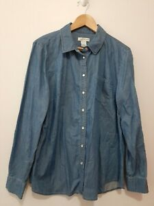 Orvis Women's Denim Shirt Size L Button up Snap Buttons Blue Long Sleeve
