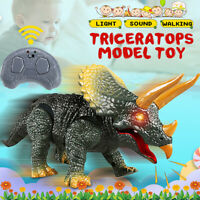 Walking Dinosaur Remote Triceratops Model Eyes Light Up Sound Electronic Toys