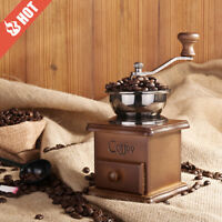 Coffee Grinder Vintage Retro Manual Hand Crank Wooden Metal Herb Burr Mill Spice
