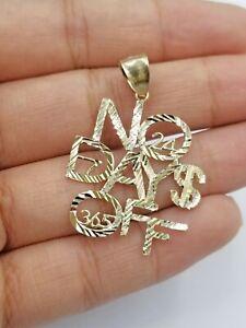 10k Yellow Gold No Of Days Charm Diamond Cut Pendant Men Women 365 7 24 DWM