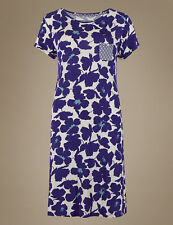 M & S Sleep Collection Large Graphic Navy Mix Floral Minishirt 20 White With Dark Blue Pattern 95 Viscose / 5 Elastane Regular