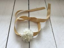 Gold Satin Ribbon Wrist Corsage Bracelet Ivory Flower Bridesmaid Flower Girl