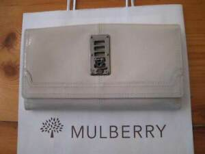 BNIB Mulberry Maggie White & Mirror metallic Spazzalato Leather Continental Purs