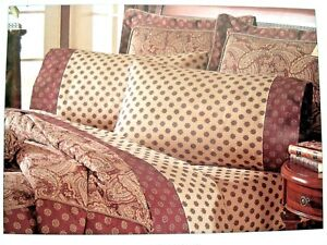 NWT WAVERLY Twin Size GARDEN ROOM Brwn Beige PAISLEY MANOR Sheet Set Pillowcases