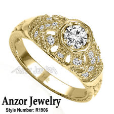 New listing 14k Solid Yellow Gold Genuine Diamond Russian Style Ring