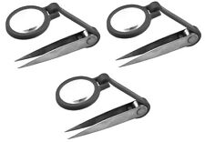 (3) Tweezer with Magnifier Magnifying Glass Light Weight For Hobby First Aid Kit