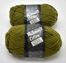 Lana Grossa Meilenweit Cotton Solid Yarn-Cotton Wool - 2 Skeins Green Brown #46