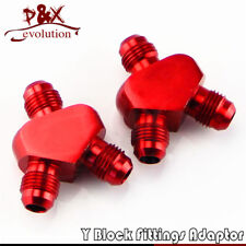 2pcs xAN6 AN-6 Inlet Outlet Y Block Car Performance Aluminum Fitting Adapter Red