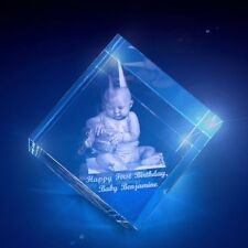 Baby's Personalized 3d Etched Solid Glass Etched Crystal