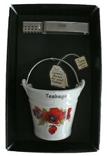Poppy design bucket shaped Teabag tidy & tongs in gift tray shrink wrapped