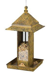 Bird Feeder - YELLOW BIRDS - Metal & Glass Regal Art