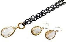 NEW: Clear Crystal Pendant & Earrings, Brown Silk Chain- Cool Clasp- Changeable