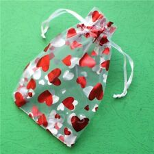Red Hearts Drawable Organza Bag Fabric Drawstring Packaging Valentine Gift